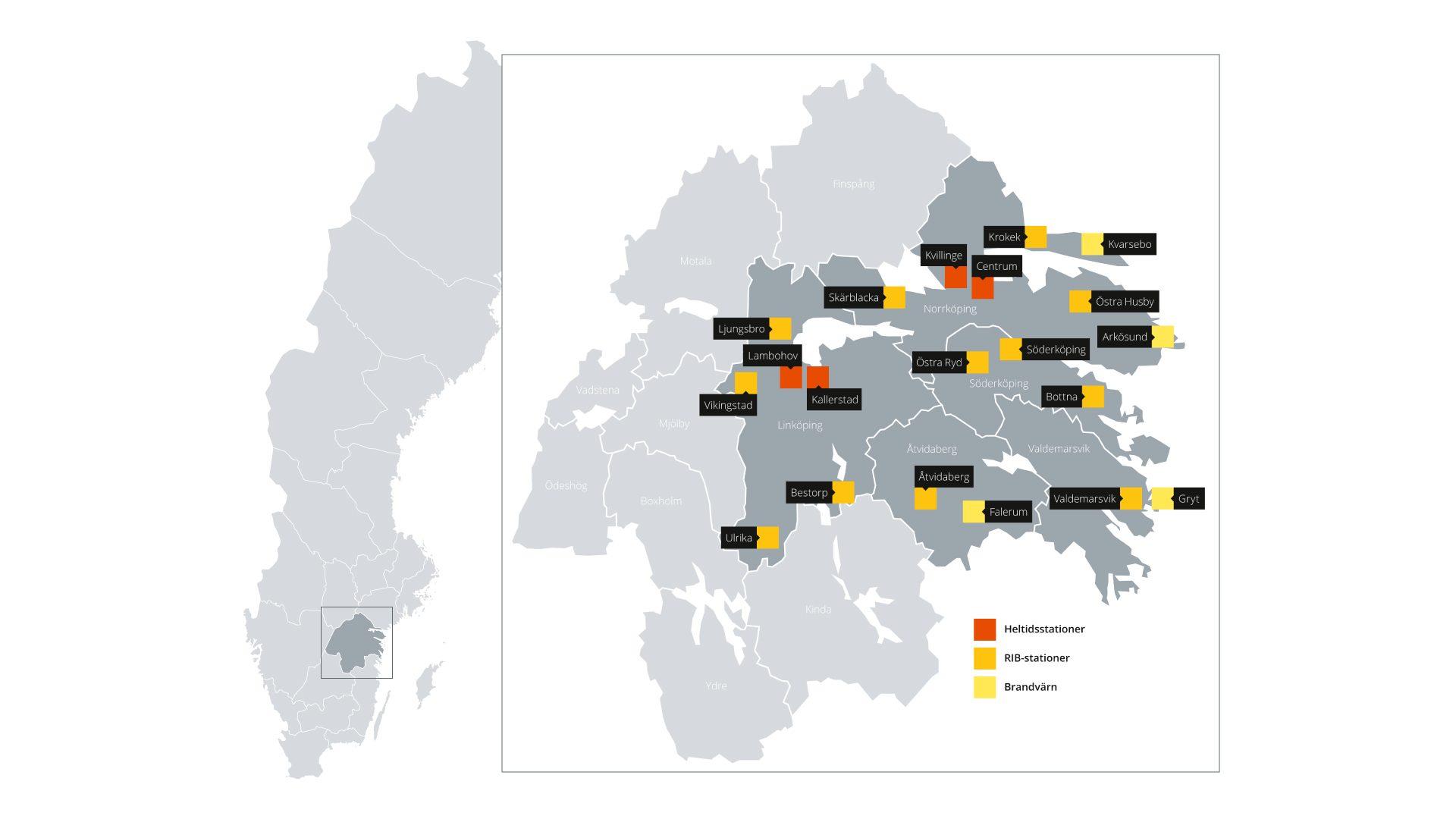Karta som visar Sverige och en utbruten och föstprad bild över det geografiska området där vi har vår verksamhet.