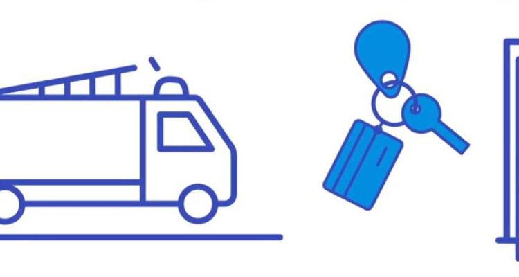 Illustration av en bil, en nyckelknippa och en dörr.