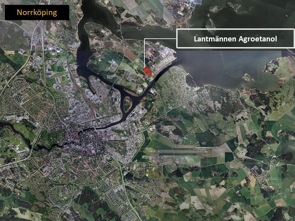 Karta över Norrköping, där man ser området där Agroetanol är lokaliserat, utmärkt med röd färg.