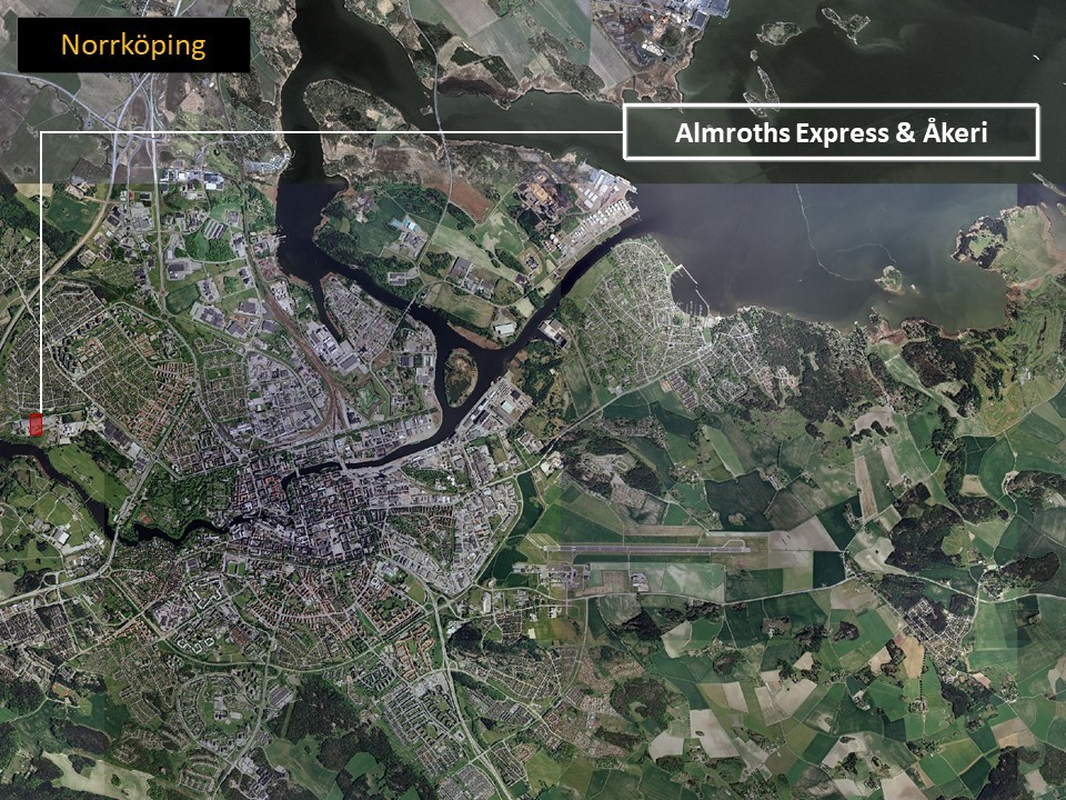 Karta över Norrköping, där man ser området där Almroths är lokaliserade utmäärkt i rött.