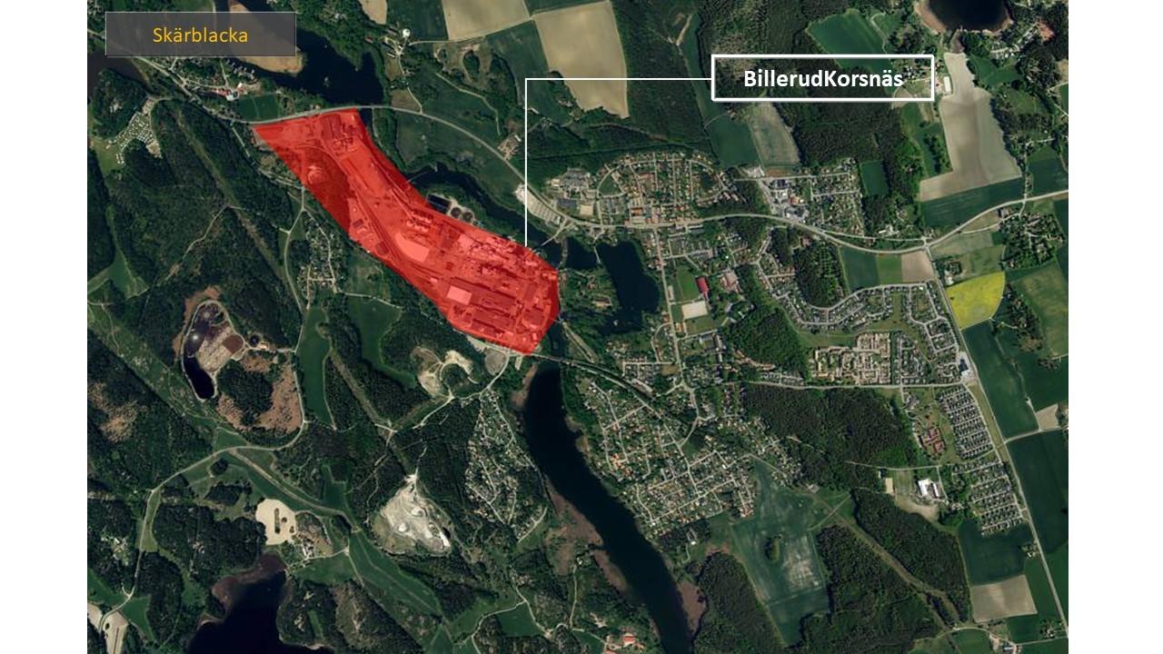 Karta över Skärblacka, där man ser området som BilleurdKorsnäs är lokaliserat på, rödmarkerat.