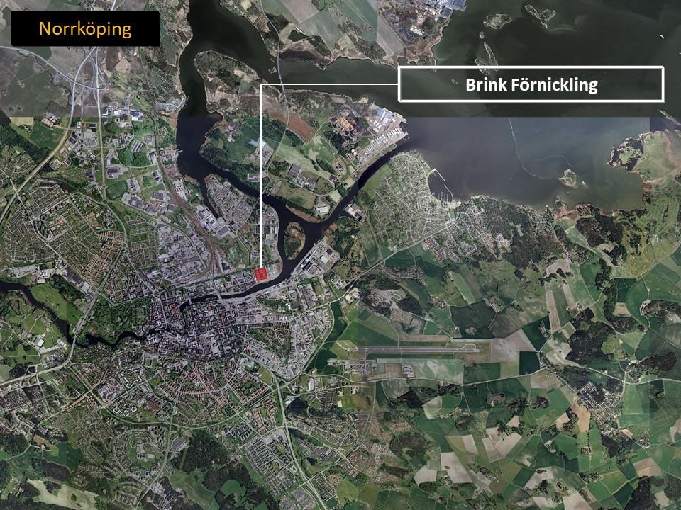 Karta över Norrköping, där man ser området där Brink AB är lokaliserade utmärkt med rött.