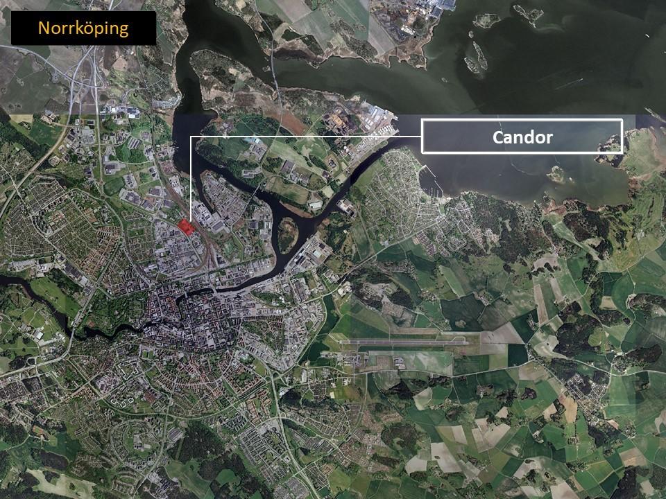 Karta över Norrköping där man ser platsen där Candor är lokaliserade.