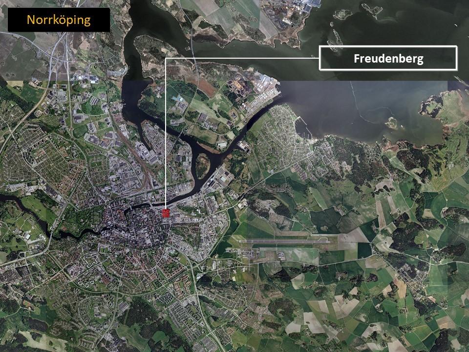 Karta över Norrköping som visar var Freudenberg Home and Cleaning Solutions AB är lokaliserade.