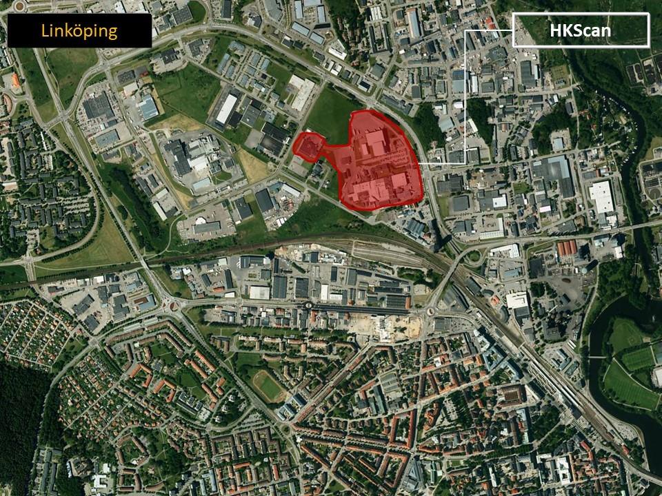 Karta över Linköping där man ser var HKScans är lokaliserade.