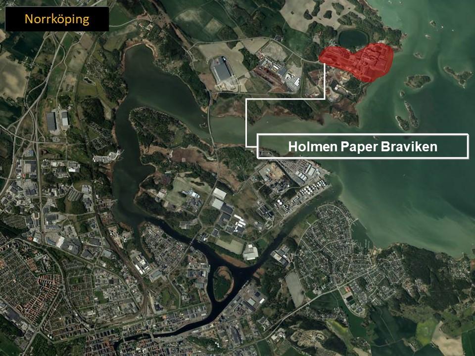 Karta över Norrköping, där man ser området där Holmen Paper Braviken ligger.