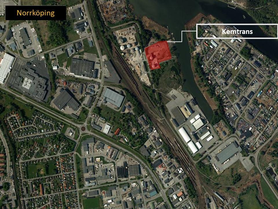 Karta över Norrköping där man ser området där Kemtrans AB ligger.