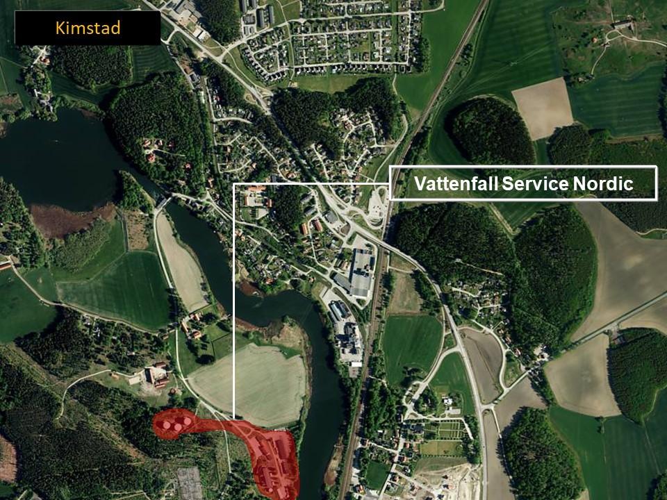 Kartbild över Kimstad, där man ser området där Kimstad gasturbin ligger.