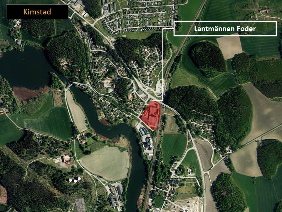 Karta över Kimstad, med området där Lantmännen Foder ligger är markerat.