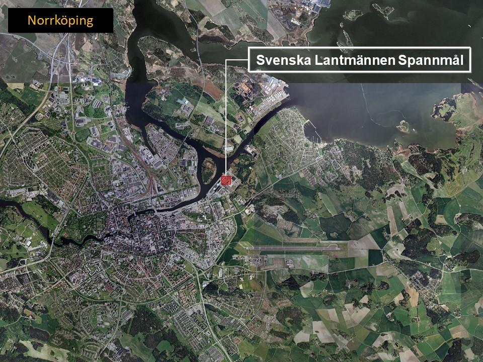 Karta över Norrköping, där man ser området där Lantmännen spannmål ligger.