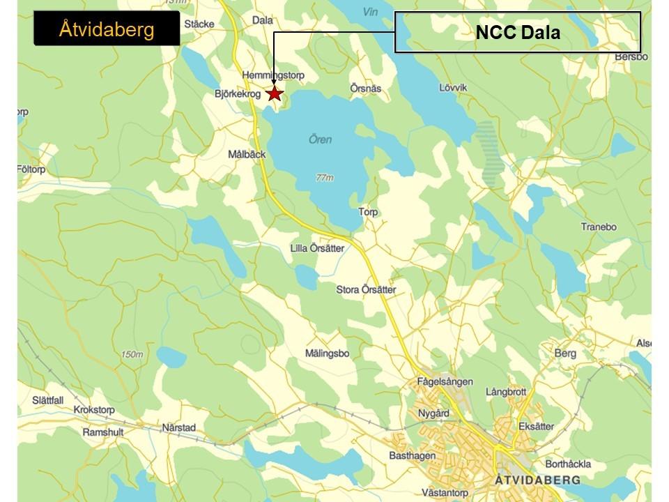 Karta över Åtvidaberg, med markering för området där NCC:s bergtäkt Dala ligger.