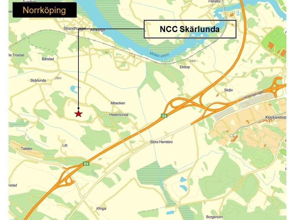 Karta där man ser var NCC:s bergtäkt Skärlunda ligger.