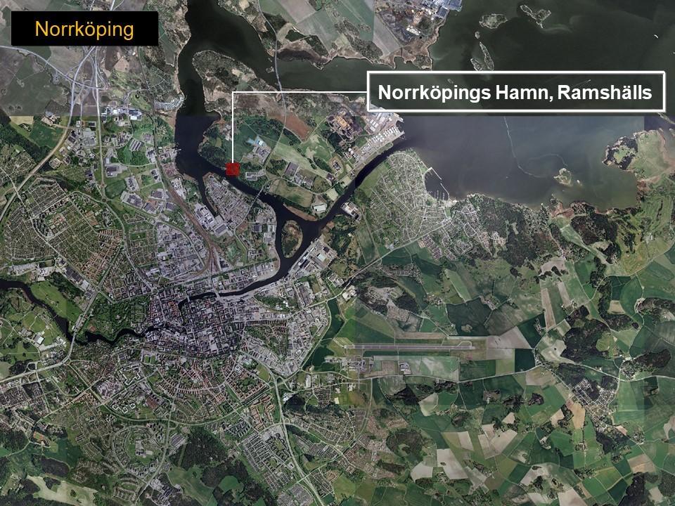 Karta över Norrköping, som visar var bergrumsanläggningen Ramshäll ligger.