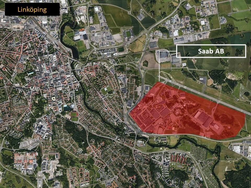 Karta över Linköping, som visar var SAAB ligger.