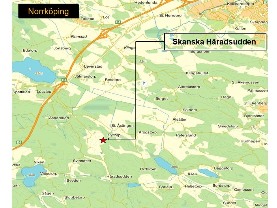 Karta över Norrköping, som visar Skanskas bergtäkt Häradsudden.