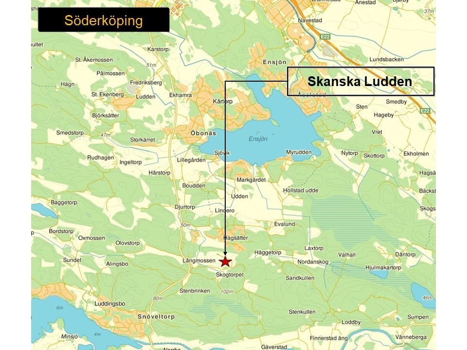 Karta över Söderköpings kommun, som visar var Skanskas bergtäkt Ludden ligger.