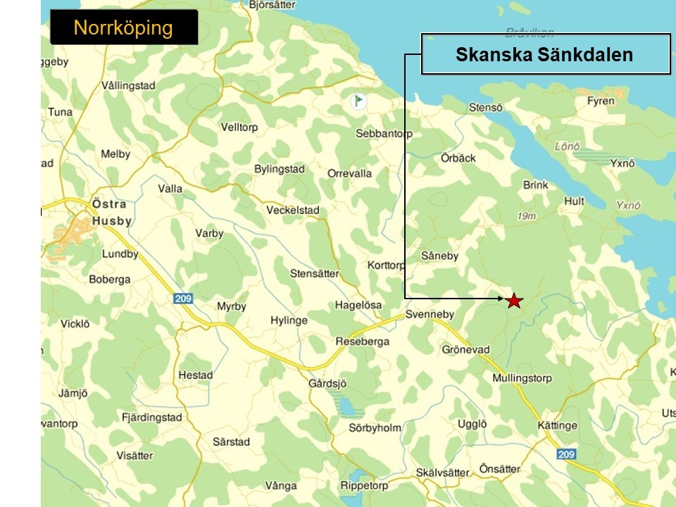 Karta som visar var Skanskas bergtäkt Sänkdalen ligger.