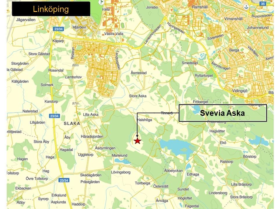 Karta över Linköping, som visar var Svevias bergtäkt Aska ligger.