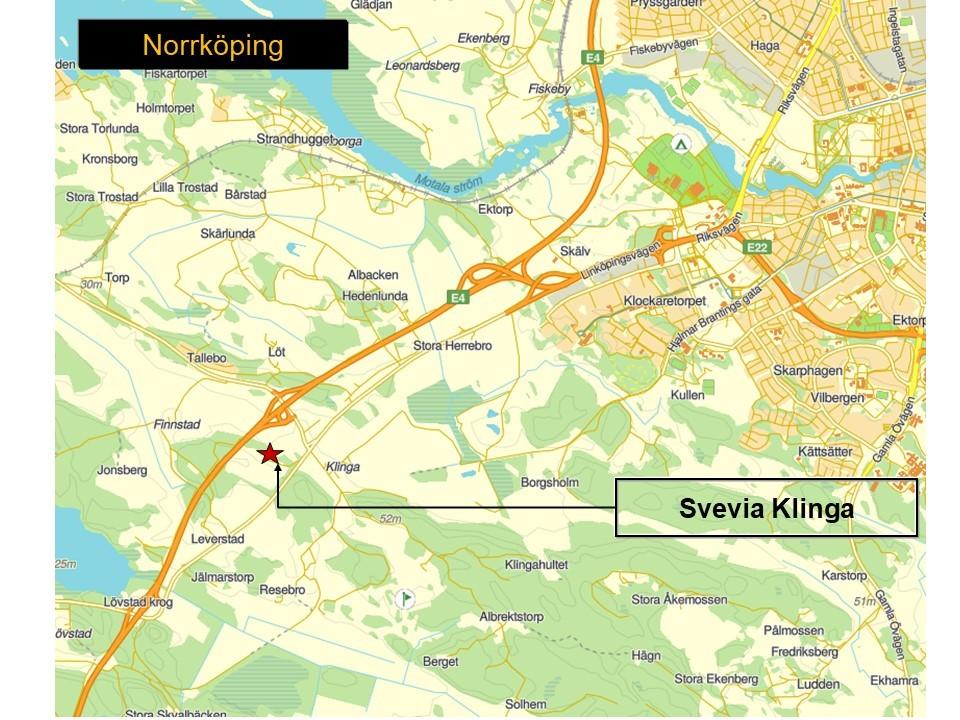 Karta över Norrköping, som visar var Svevias bergtäkt Klinga ligger.