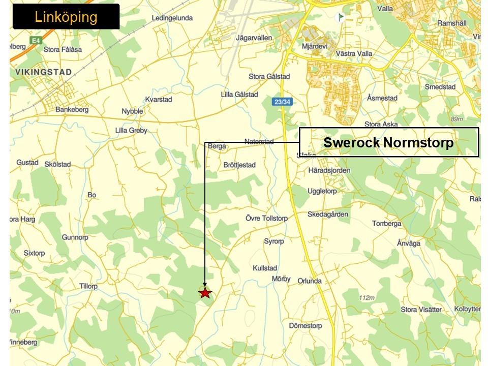 Karta som visar var Swerocks bergtäkt Normstorp ligger.