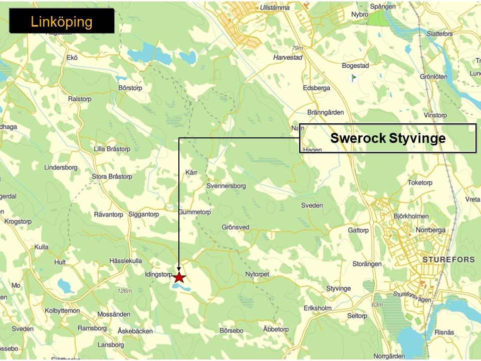 Karta som visar var Swerocks bergtäkt Styvinge ligger.