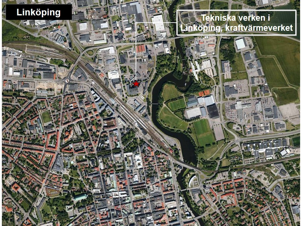 Karta över Linköping, som visar var Tekniska verken, kraftvärmeverket, ligger.