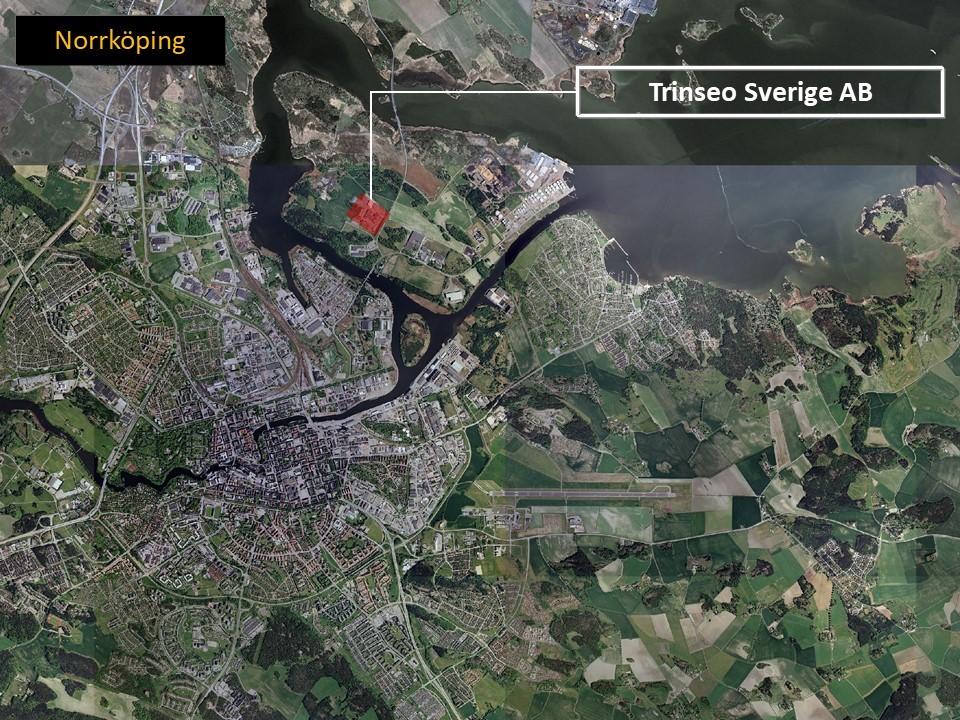 Karta över Norrköping, som visar var Trinseo Sverige AB ligger.