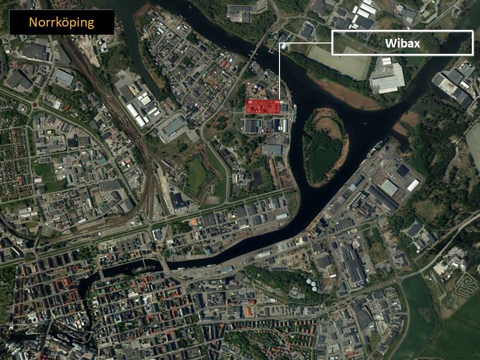 Karta över Norrköping, som visar var Wibax ligger.