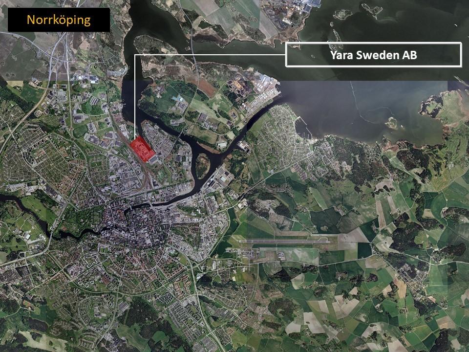 Karta över Norrköping, som visar var Yara AB ligger.