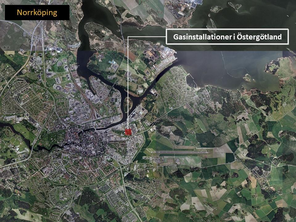 Karta över Norrköping, som visar var Gasinstallationer i Östergötland AB ligger.