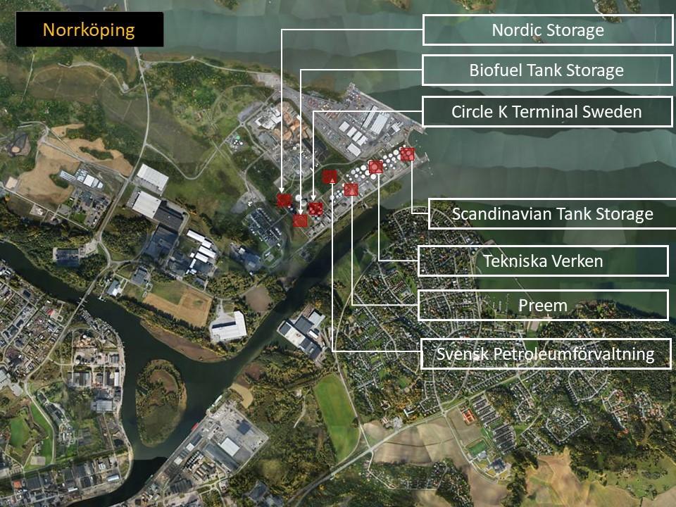 Kartbild över Pampus oljehamn i Norrköping, där man ser var på kartan företagen finns.