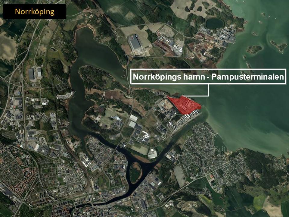 Karta över Norrköping, som visar var Pampusterminalen ligger.