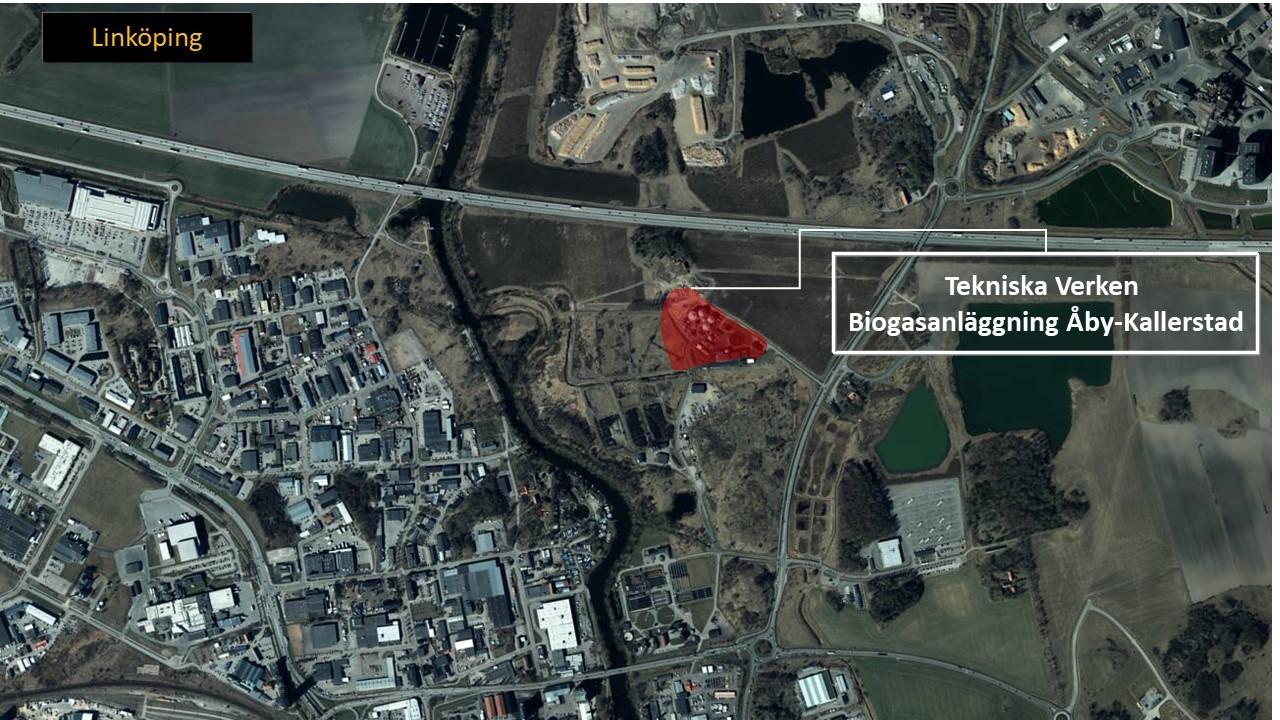 Karta över Linköping som visar var Tekniska verkens biogasanläggning Aby-Kallerstad ligger.